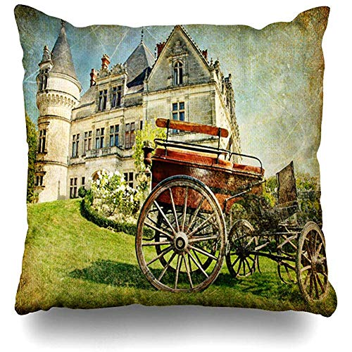 (Throw Pillow Covers Scenery Tale Old French Castle Carriage Artistic Vintage Europe Fairy Clip Aged Carrige Ancient Decorative Cushion Cover Square 18 x 18 Inches Home Decor Pillow Cover)