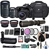 Canon EOS 80D DSLR Camera with EF-S 18-55mm f/3.5-5.6 IS STM Lens + EF-S 55-250mm f/4-5.6 IS STM Lens + 500mm Preset Lens + 32GB Sandisk SD + Slave Flash + Battery Grip + Filter + More