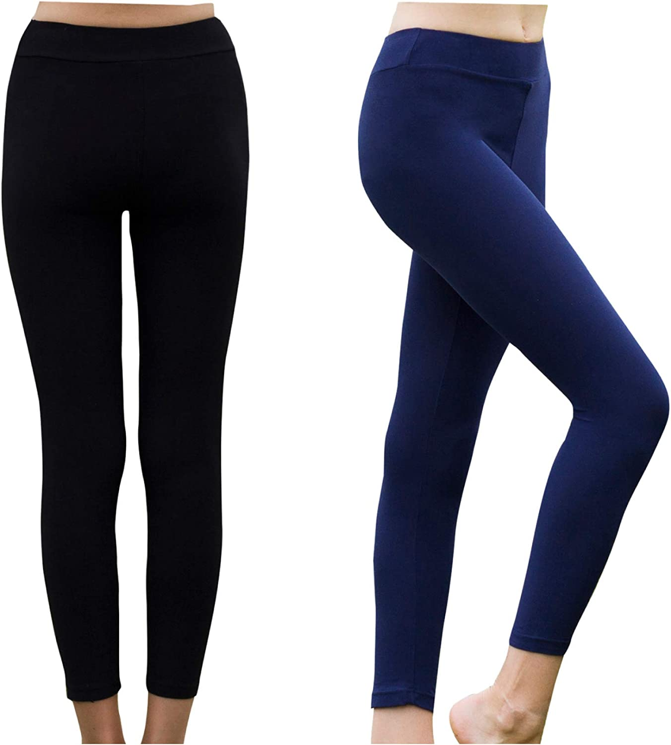 Pack of 2 Stretchy High Waist Ankle Length Soft Pants for Kids and Toddlers VESKAOTY Girls/' Leggings