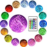 BJYHIYH Fairy Lights 33ft 100 LEDs Copper String Lights Battery Operated Waterproof 16 Colors Indoor Outdoor Decorative Lights with Remote for Bedroom Party Garden Patio(Colored)