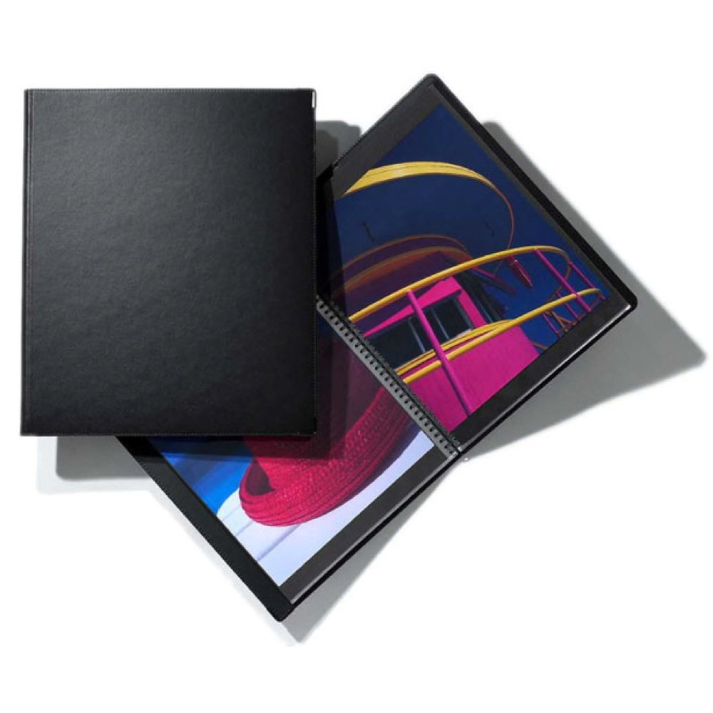 Prat Classic 142 Deluxe Leather Covered Spiral Book with 20 Sheet Protectors, 11 X 8.5 inches, Black by Prat