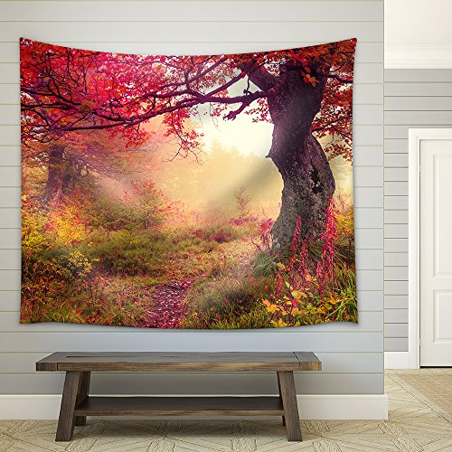 Majestic landscape with autumn trees in forest Carpathian Ukraine Europe Beauty world Retro filtered Fabric Wall Tapestry