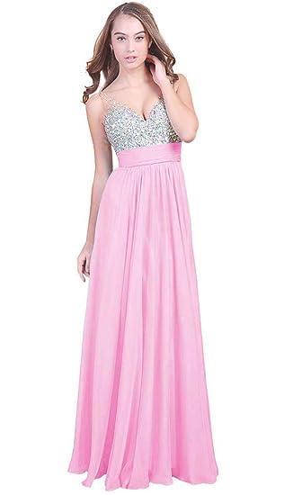 a5f3e298c5b Fanhao Women s V Neck Sequins Chiffon Bridal Evening party Long prom dress