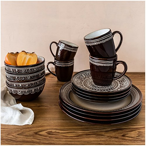 Better homes and gardens teal medallion 16 piece - Better homes and gardens dish sets ...