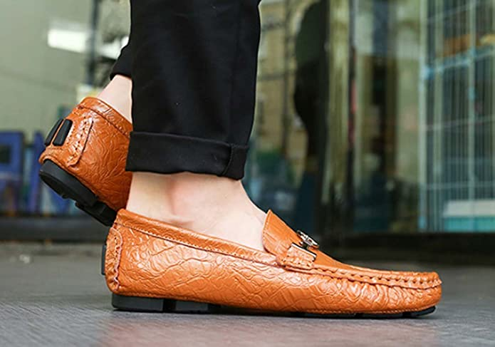 FARALY Men's Shoes Flat Loafers Leather Driving Shoes Safety Shoes Large  Size Casual Formal Shoes (Color : Brown, Size : 41): Amazon.co.uk: Shoes &  Bags