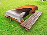 Ambesonne Balinese Outdoor Tablecloth, Temple Pura Tanah Lot Bali Indonesia Magical Romantic Sunset Exotic Holidays, Decorative Washable Picnic Table Cloth, 58 X 84 Inches, Orange Brown