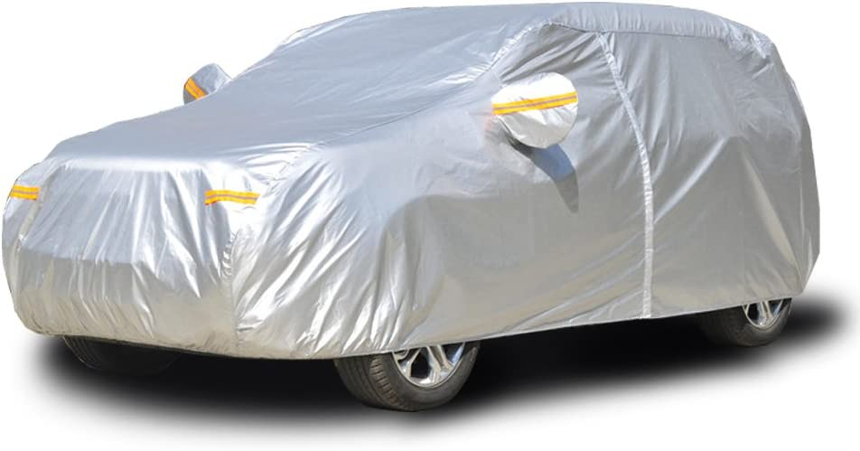 kayme Fundas para Coche Impermeable Todo Clima, Protección contra La Lluvia UV Sun, con Bolsillo Espejo Cremallera para Automóvil, Ajuste SUV (486 A 510cm) YXL