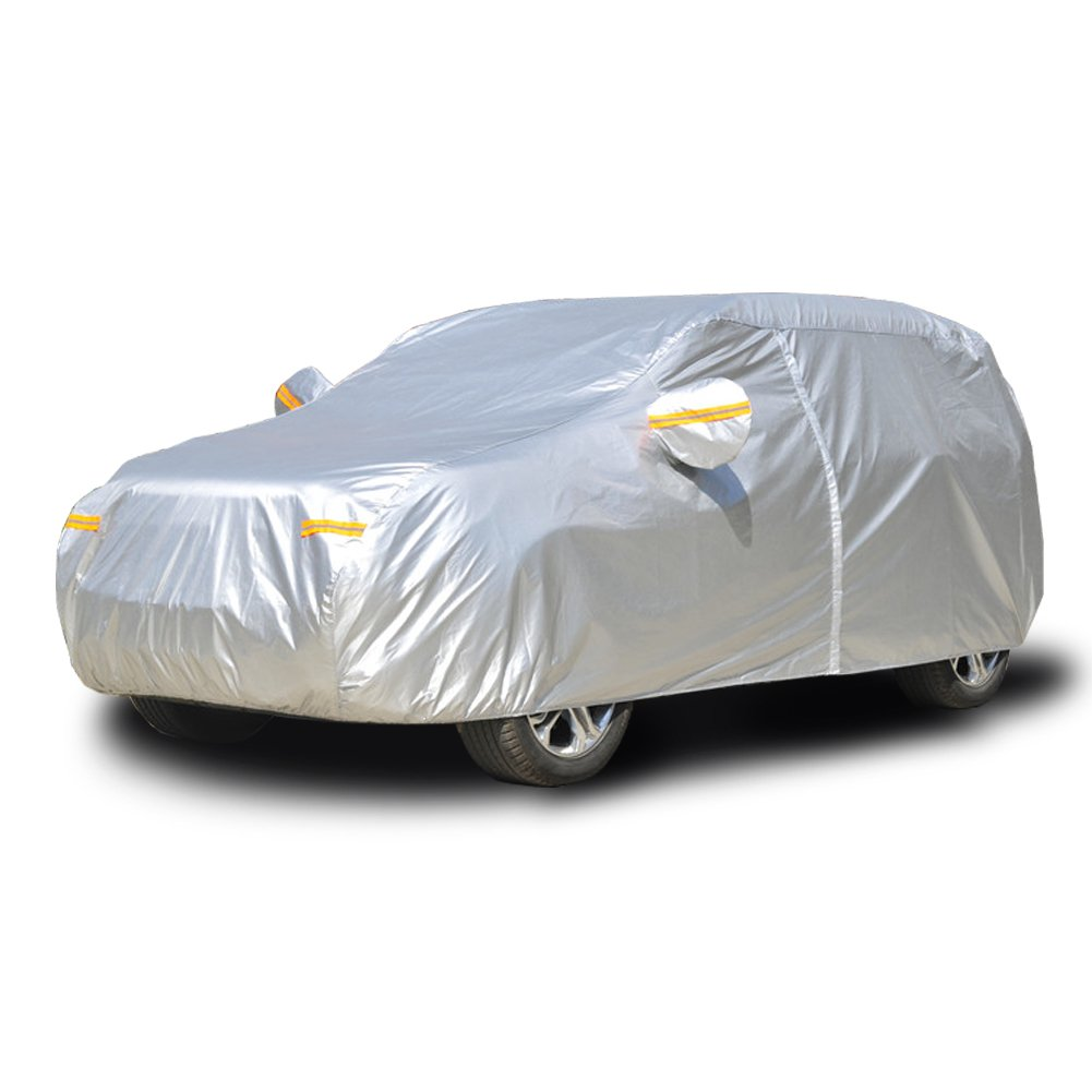 Kayme Car Covers for Automobiles Waterproof All Weather Sun Uv Rain Protection with Zipper Mirror Pocket Fit SUV Jeep 178 to 187 Inch YL