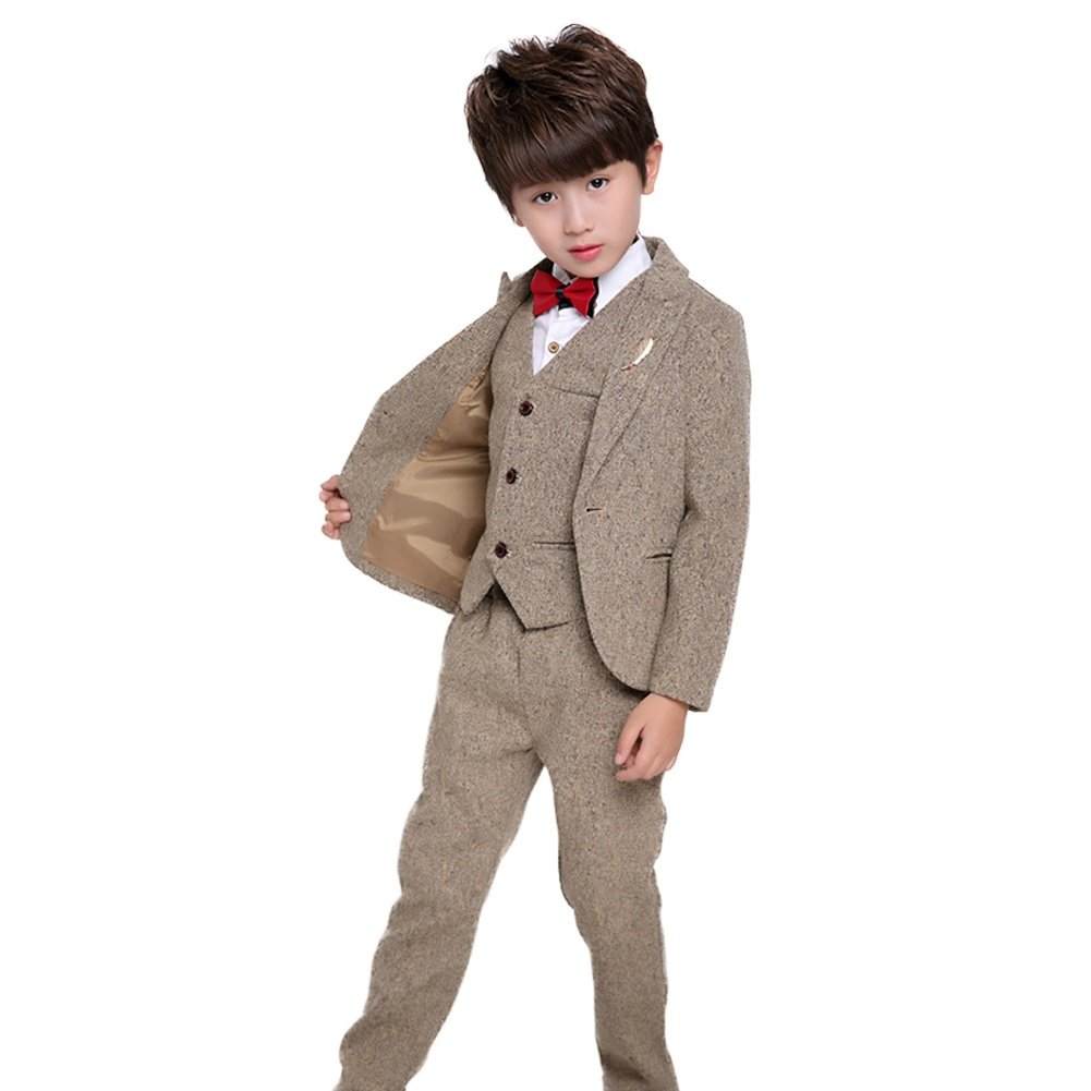 4PCS Little Boy Gentleman Suit Formal Wear Coat Shirt Vest Pants Outfit Set (5-6 Years, Coffee)
