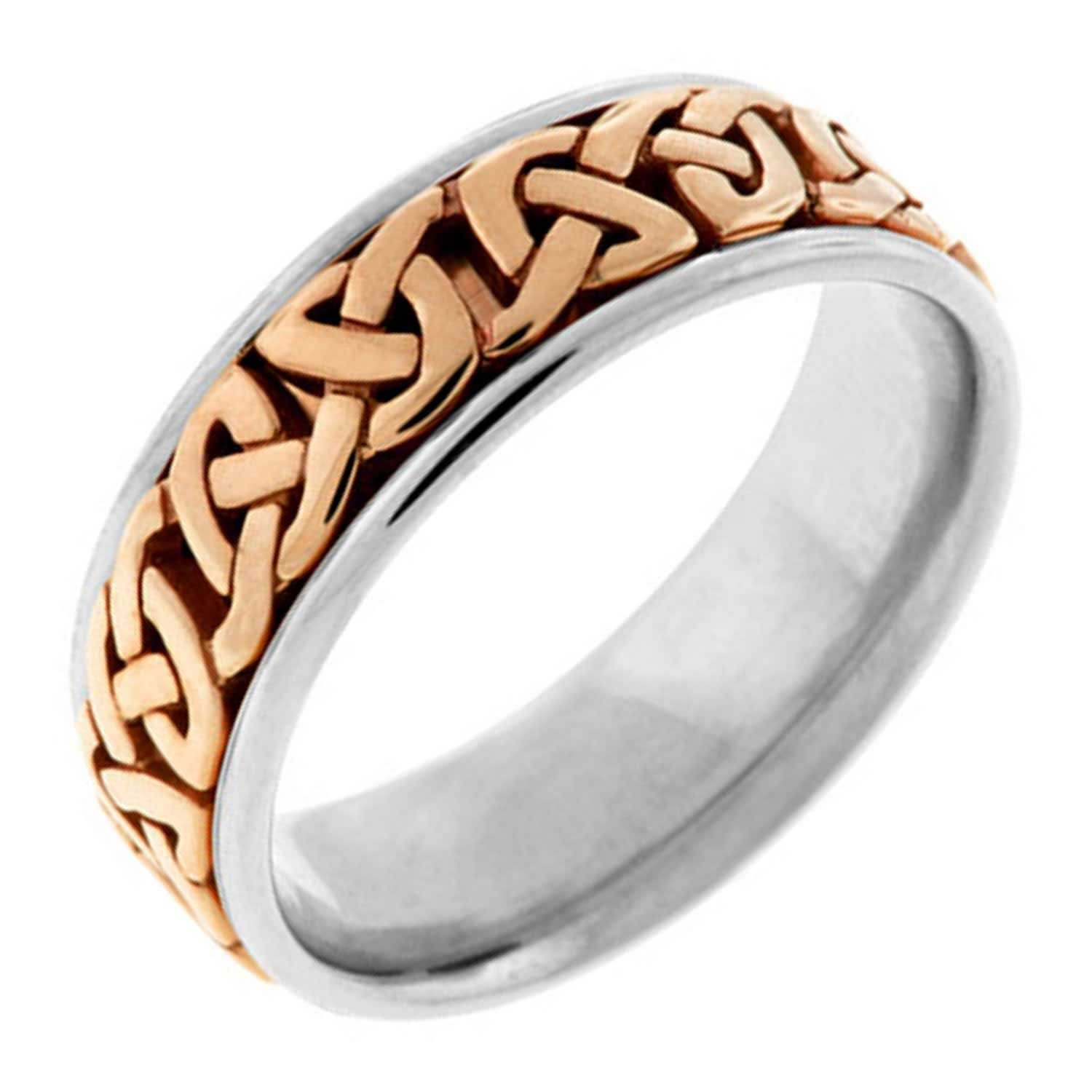 18K Two Tone Gold Celtic Love Knot Men's Comfort Fit Wedding Band (7mm) Size-9.5c1