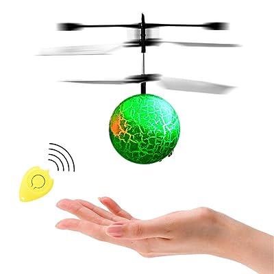 Acefun RC Flying Ball, Bola de helicóptero de inducción infrarroja con LED Intermitente Que Destella la iluminación para niños y Adolescentes: Juguetes y juegos