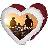 Cuscino Cuore Personalizzato con foto Idea regalo Amore - Rosso, 40x40 cm - Con Imbottitura