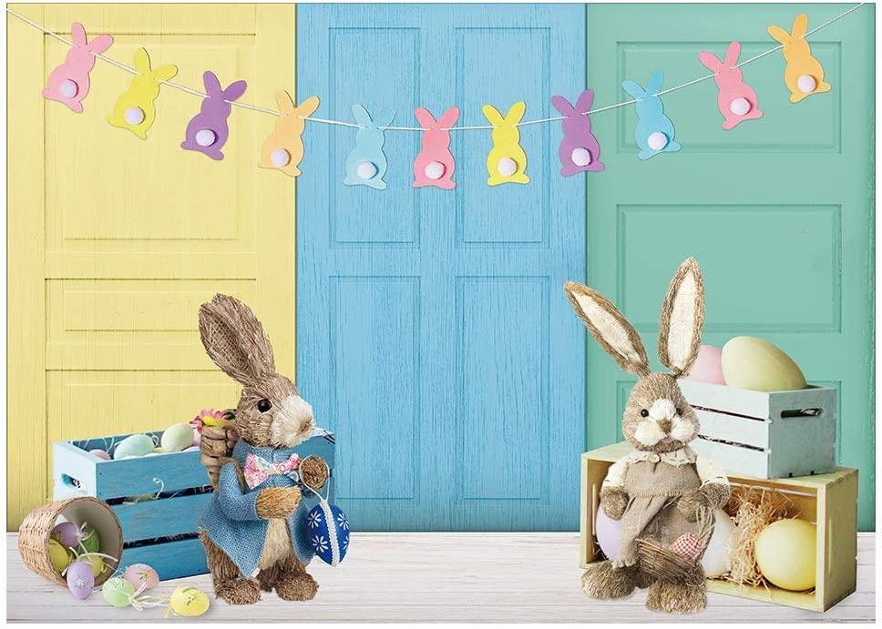 8x6ft Happy Easter Wood Spring Vintage Wooden Board Rabbit Green Grass Photography for Studio Props Newborn Baby Bath Birthday Party Wallpaper Studio Wedding Cloth Family Portrait Background Cloth