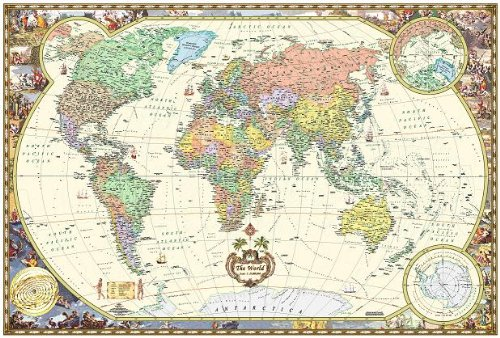 Antique Style World Wall Map (Wall Map, Laminated) (Illustrated World Map) (Map) - Style World Map