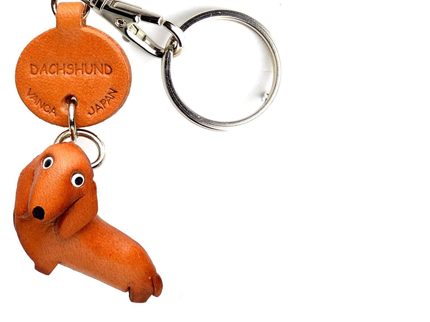 Dachshund Leather Dog Small Keychain VANCA CRAFT-Collectible Keyring Charm Pendant Made in Japan