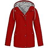 FRAUIT Regenjas voor dames, winterjas, wintermantel, plussize, outdoor waterdichte jas met capuchon, regenjas voor dames…