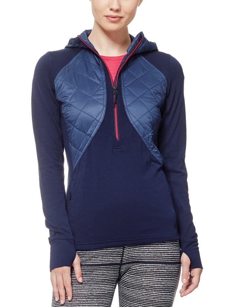 Icebreaker Merino Women's Ellipse Long Sleeve Half Zip Hoodie, Admiral/Pop Pink, Large