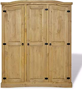 Extaum Large Wood Wardrobe Mexican Pine Corona 3 Doors Armoire Wardrobe Closet for Clothes