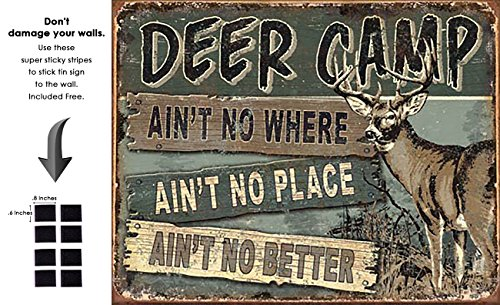 Shop72 - Cabin Wear JQ - Deer Camp Tin Sign Retro Vintage Distrssed - with Sticky Stripes No Damage to Walls