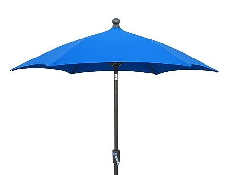 FiberBuilt Umbrellas Patio Umbrella, 7.5 Foot Pacific Blue Canopy And  Champagne Bronze Pole