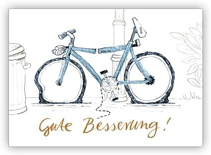 Bonita tarjeta de recuperación con humor y bicicleta rota: buena ...