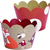 Woodland Animal Cupcake Wrappers, 36 Forest Creature Cup Cake Liners, Red and White Polka-Dot Treat Holder, Camping Theme Party Decoration, Wild One 1st Birthday Supplies, Snow White, Confetti Couture