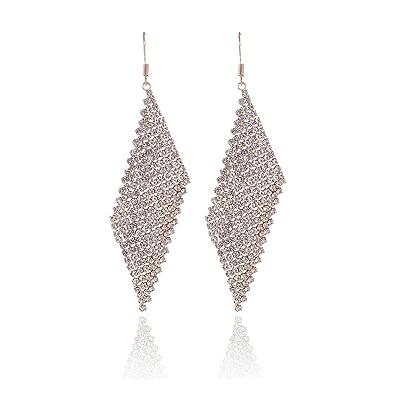 Women Fashion Luxury Layers Tassel Crystal Rhinestones Long Earrings Dress Party Jewelry & Watches