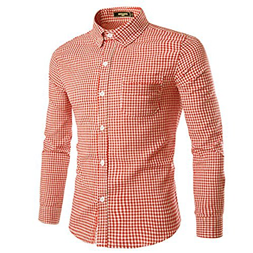 NUTEXROL Mens Dress Shirts Plaid Cotton Classic Slim Fit Long Sleeve Shirts Light Orange L