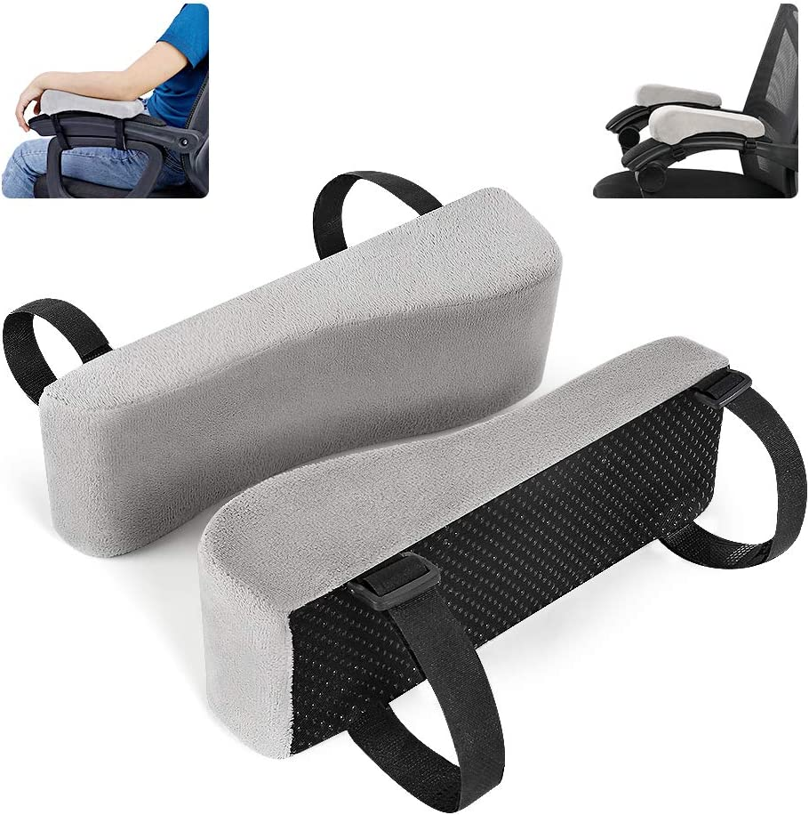 Universal Cushion Covers for Armrest and Elbow Relief 2 Pad Set Memory Foam Arm Rest Office Chair Armrest Pads and Elevated Sloped Armrest Grey