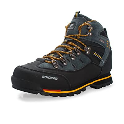 Hiking Boots Men High Top Outdoor Trail Trekking Shoes for Walking Camping Travel Leather Big Size by GOMNEAR