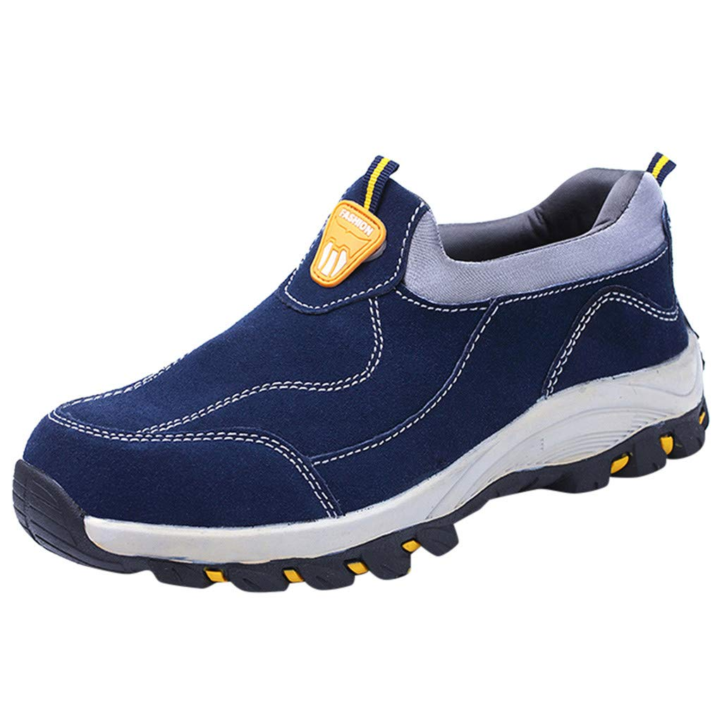 Jungle Work Shoe Mens Hiking Shoes Slip On Suede Walking Shoes Leisure Flats Blue