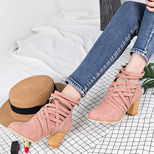 Hemlock High Heel Ankle Boots, Womens Ladies Wedge Shoes Sandals Boots Martin Boots Party Dress Martens (Pink, US:8)