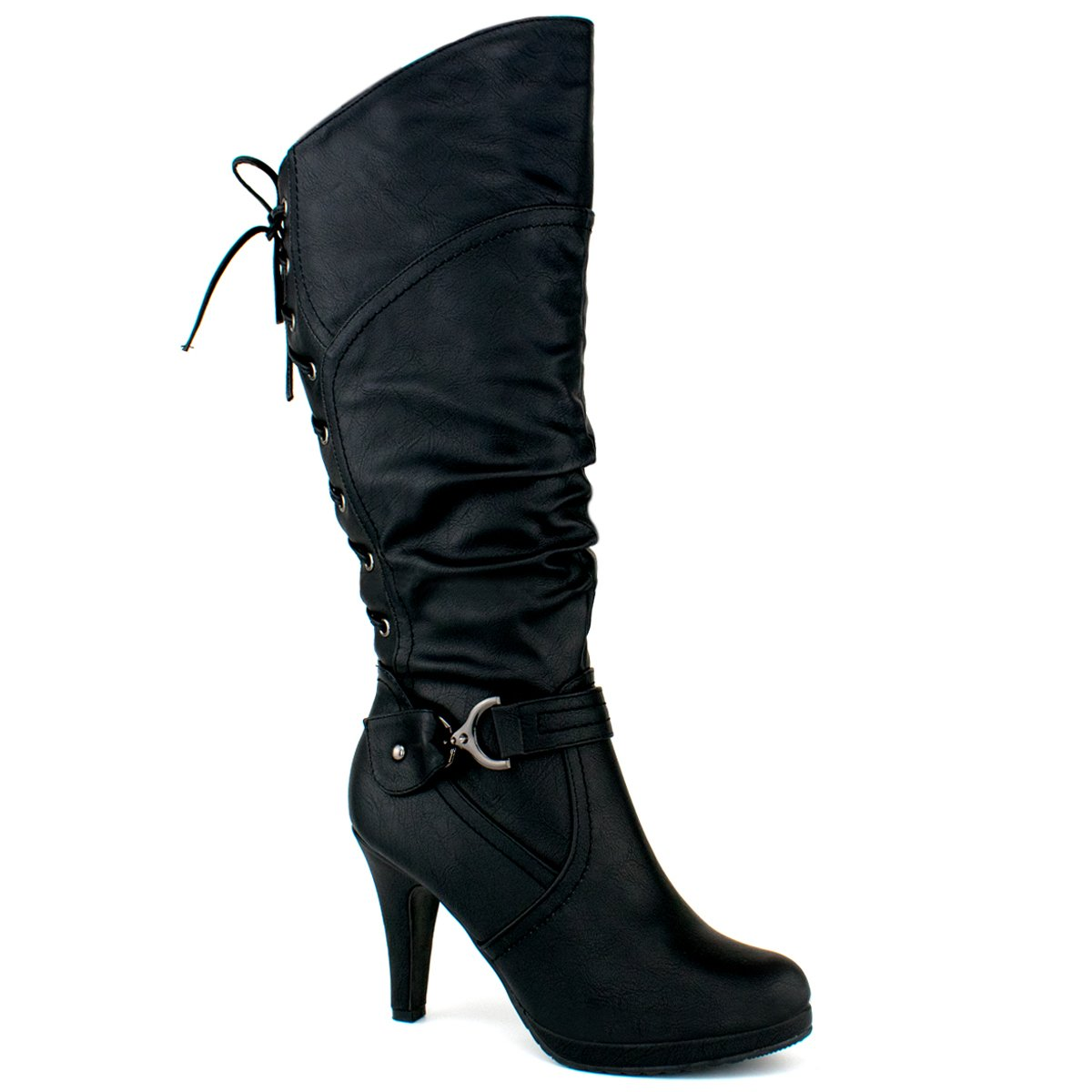 Top Moda Women's Knee Lace-up High Heel Boots PAGE-65