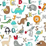 """1-1/4 Yards - """"B is for Bear"""" Zoo Animal ABCs Non-Pill Fleece Fabric (Great for Quilting, Sewing, Craft Projects, Curtains, Pillows, Etc.) Pre-Cut 1-1/4 Yards x 60"""" Wide"""