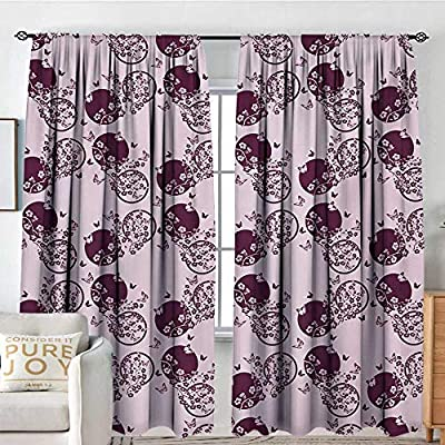 Petpany Blackout Curtains for Bedroom Japanese,Traditional Cherry Blossom Sakura Branches Butterflies on Large Polka Dots,Pale Pink Plum,Thermal Insulated Darkening Panels for Cafe Windows 100