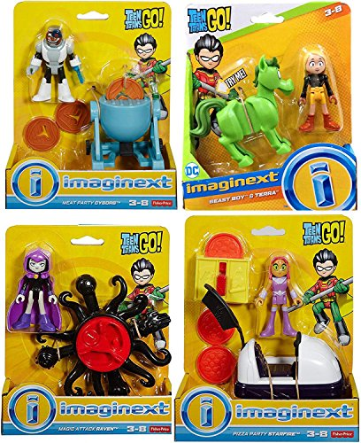 Toy Figure Go Super Hero Party Teen Titans Playset Magic Attack Raven / Meat Cyborg / Pizza Starfire / Beast Boy & Terra Adventure Cartoon Character Pack 4 Bundle (Teen Titans Go Toys)