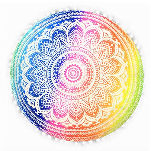 Emprelex 32 Inch Flower Mandala Floor Pillow | Hand-Printed Round Floor Cushion | Organic Cotton | Ideal for Living Room, Bedroom and Yoga Room | Cover Only | (Rainbow)