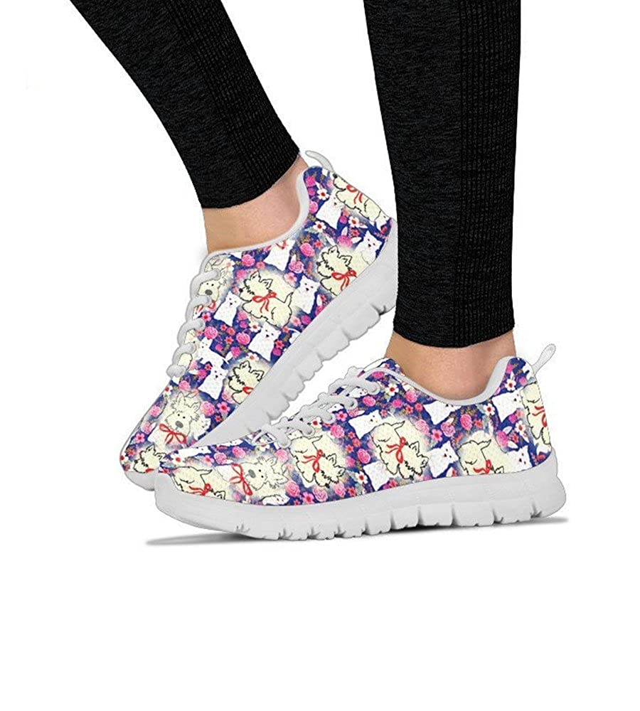 Womens Sneakers-West Highland White Terrier Pattern Print Sneakers for Women Running Shoes