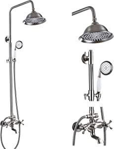 Brushed Nickel Shower System 8 Inch Rainfall Shower Head Bathroom Shower Faucet with Tub Spout and Handheld Spray Wall Mount Double Cross Handle Shower Fixture