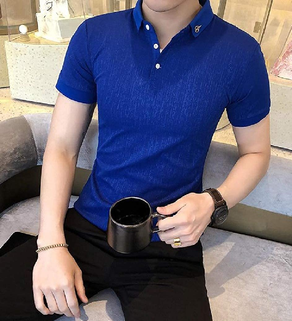 FreelyMen Polo Shirts Short-Sleeve Chic Soft Silm Fit Lapel Collar Tees Top