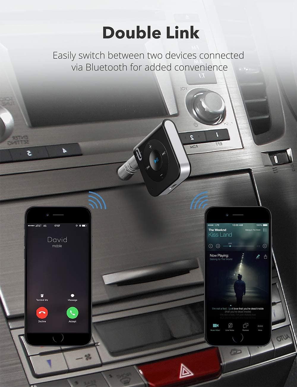 Hands-Free Calling, Bluetooth 5.0, A2DP, CVC Noise Cancelling Bluetooth Receiver TaoTronics 15 Hour Bluetooth Car Kit Bluetooth AUX Adapter Wireless Audio Adapter