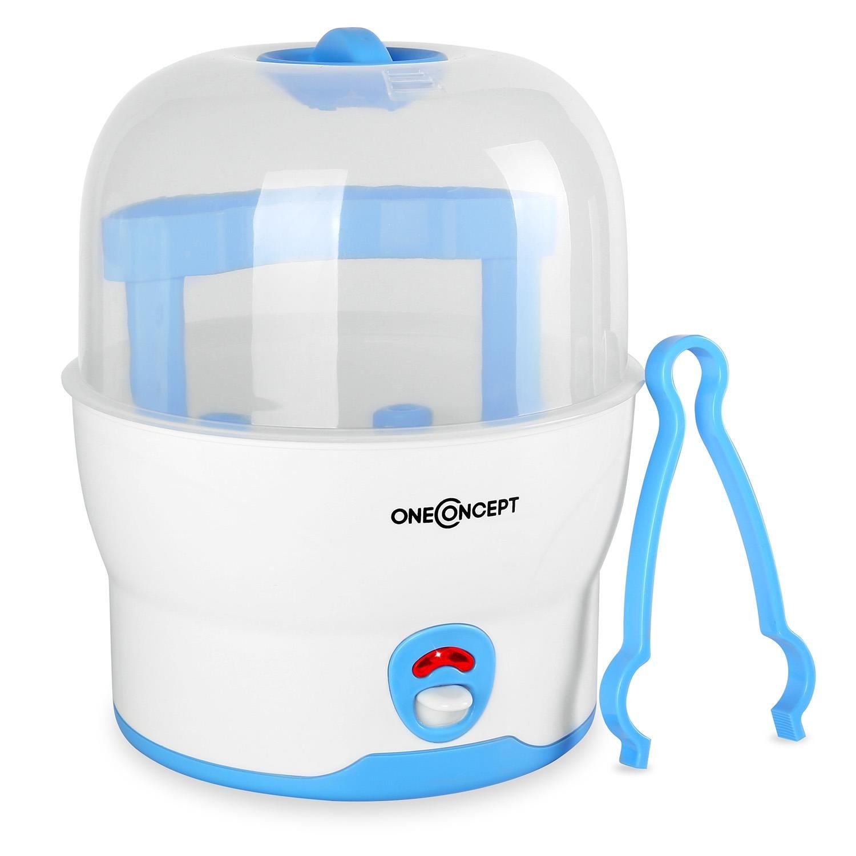 Wasserdampf-Vaporisator Sterilisator blau Desinfektionsger/ät oneConcept Mom/&Me Princess 500 Watt ohne Chemikalien f/ür 6 Flaschen zerlegbar Auskocher f/ür Babyflaschen