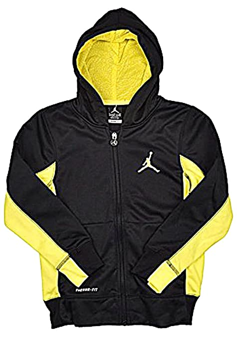 71818327a2d748 Image Unavailable. Image not available for. Color  Nike Air Jordan Jumpman  Boys Therma-Fit Hoodie Jacket Black Yellow - Small
