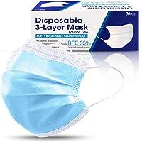 Earleye0 Desechables 50PCS Protección Tres Capas No Tejida Transpirables con Elástico Banda para Los Oídos, Adulto…