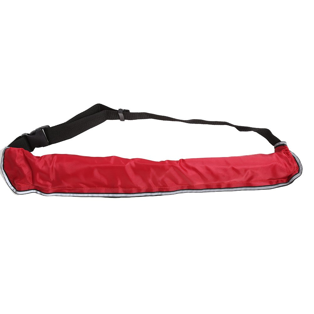 VGEBY Paddle Board Life Belt, Portable Inflatable Lifejacket Waist Belt with Reflective Tapes and Whistle for Fishing Swimming (Color : Red) by VGEBY