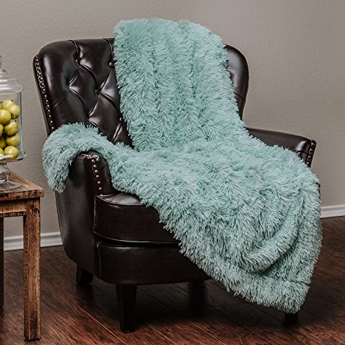 Chanasya Super Soft Long Shaggy Chic Fuzzy Fur Faux Fur Warm Elegant Cozy With Fluffy Sherpa Aqua Blue Microfiber Throw Blanket (50