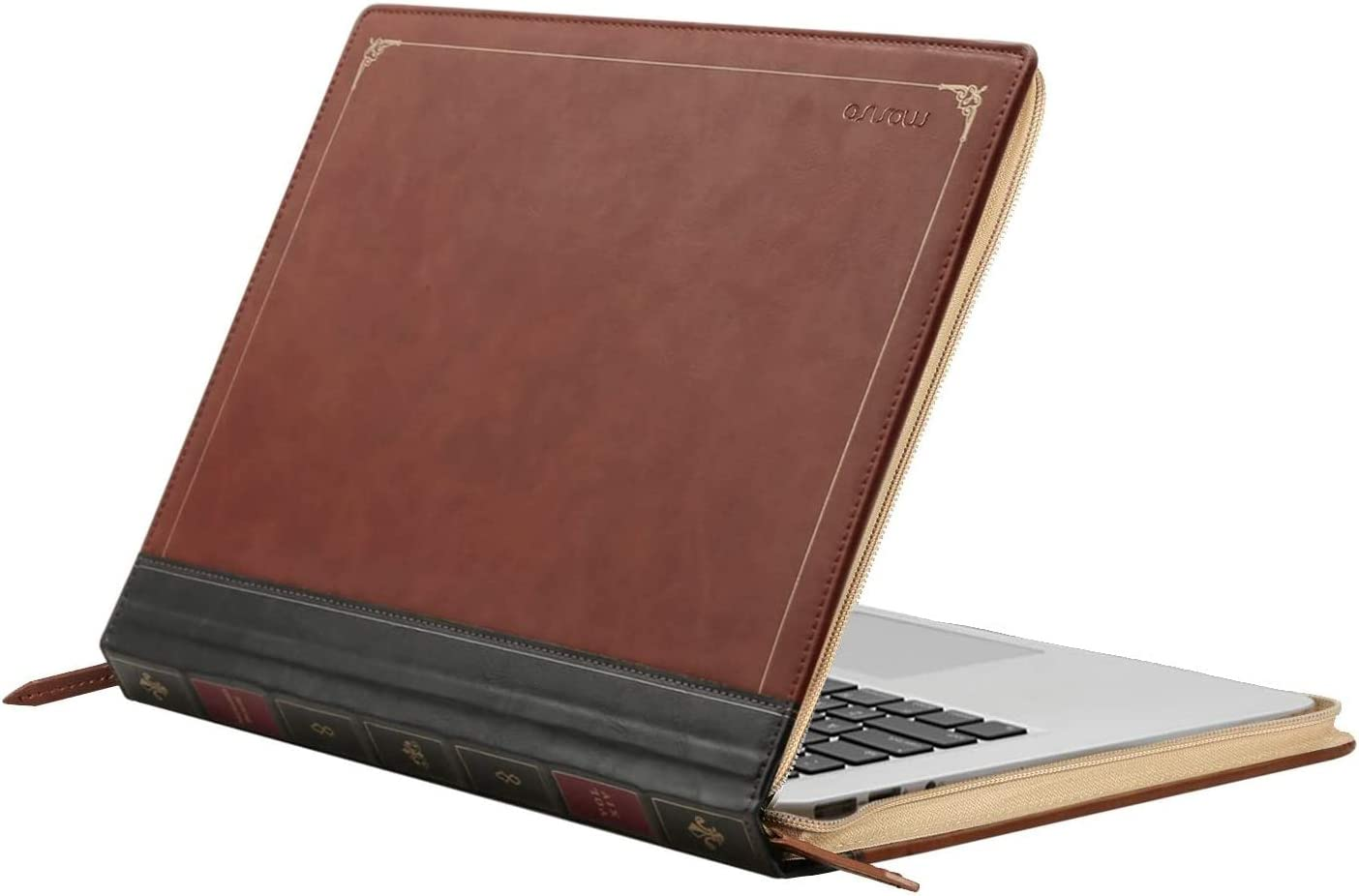 MOSISO MacBook Air 13 inch Case, PU Leather Laptop Sleeve Vintage Retro Zippered Book Folio Cover Compatible with MacBook Air 13 inch A1466/A1369 (Older Version Release 2010-2017), Brown