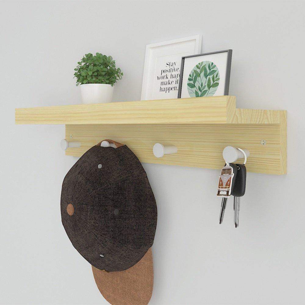 LJHA Perchero y Sombrero Rack Pine Wood Pastoral Style Hogar Rack de Pared montado Perchas (Color : Madera, Tamaño : 48CM): Amazon.es: Hogar