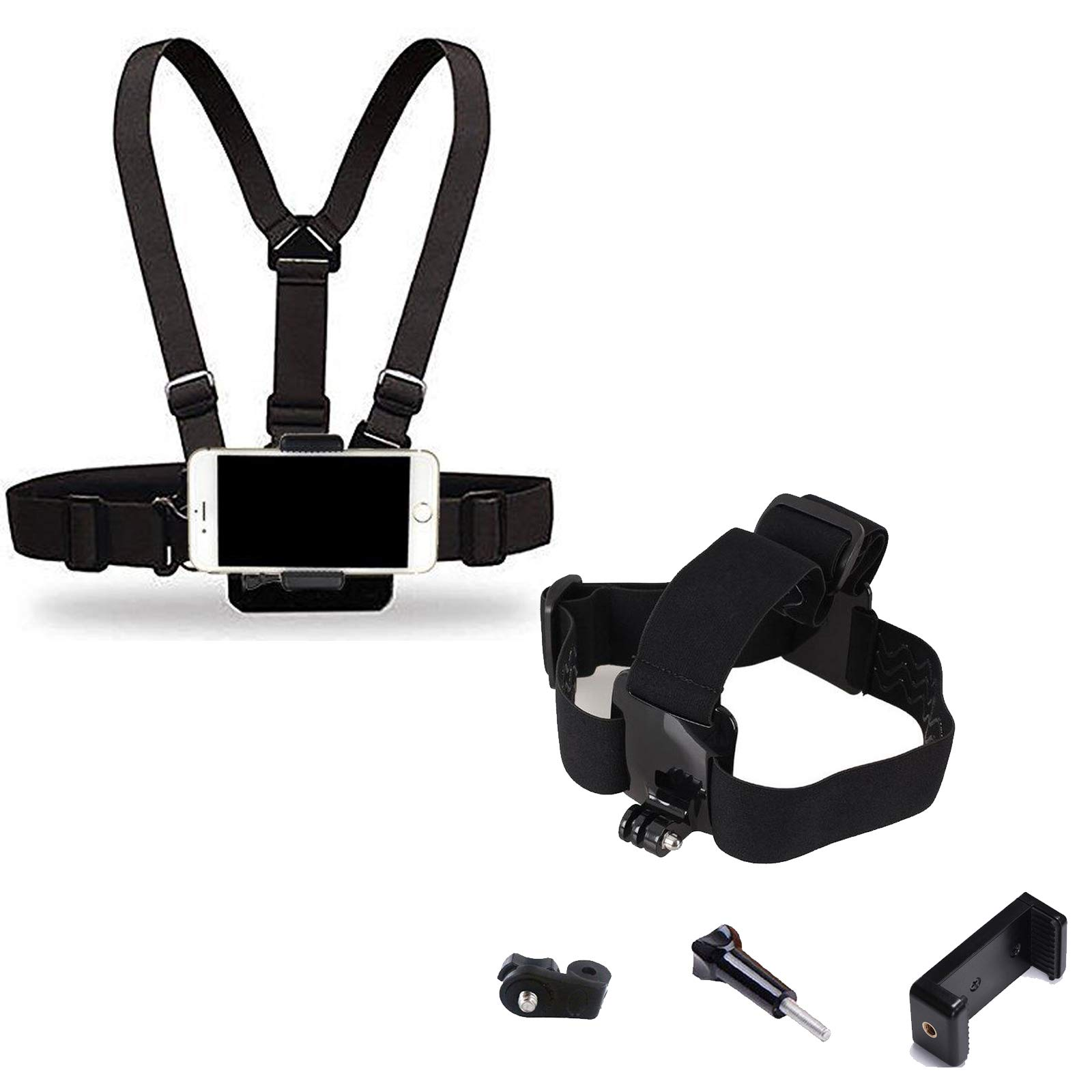 Supkeyer 2in1 Chest Mount+ Head Mount Strap Harness with Phone Clip & J-Hook & Screw & Adaptor for Sport Action Camera/iPhone 11,11 Pro,11 Pro Max,Xs Max XR 8+ 8 7+ /Any Smart Phone