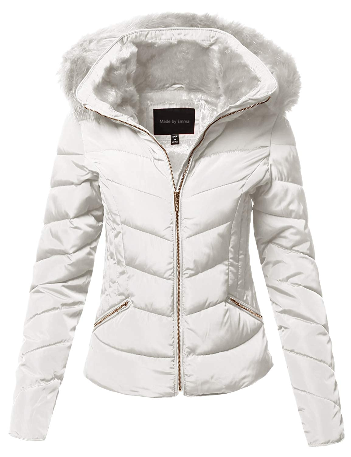 165e60118 Amazon.com: Made by Emma Women's Quilted Puffer Jacket with ...